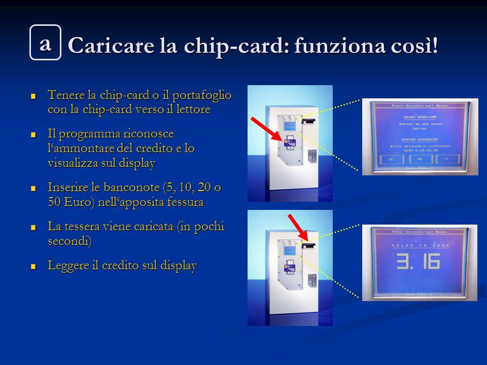 Caricare la chip-card: funziona così! Caricare la chip-card: funziona così! Tenere la chip-card o il portafoglio con la chip-card verso il lettore Il
