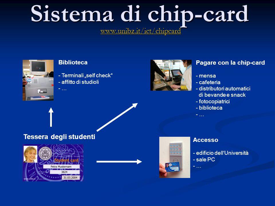 """Sistema di chip-card www.unibz.it/ict/chipcard Biblioteca - Terminali """"self check"""" - affitto di studioli - … Pagare con la chip-card - mensa - cafeter"""