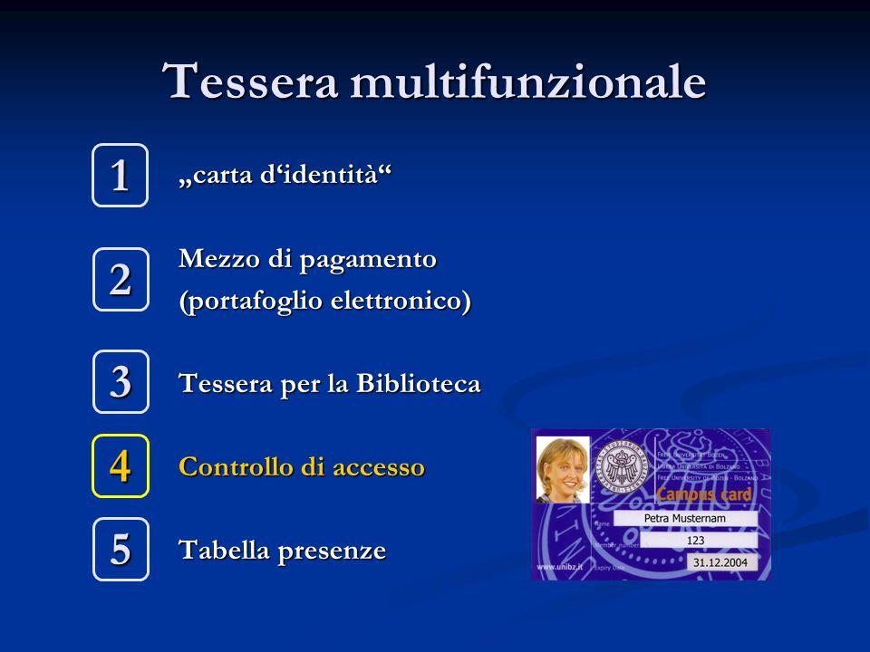 """Tessera multifunzionale """"carta d'identità"""" Mezzo di pagamento (portafoglio elettronico) Tessera per la Biblioteca Controllo di accesso Tabella presenz"""