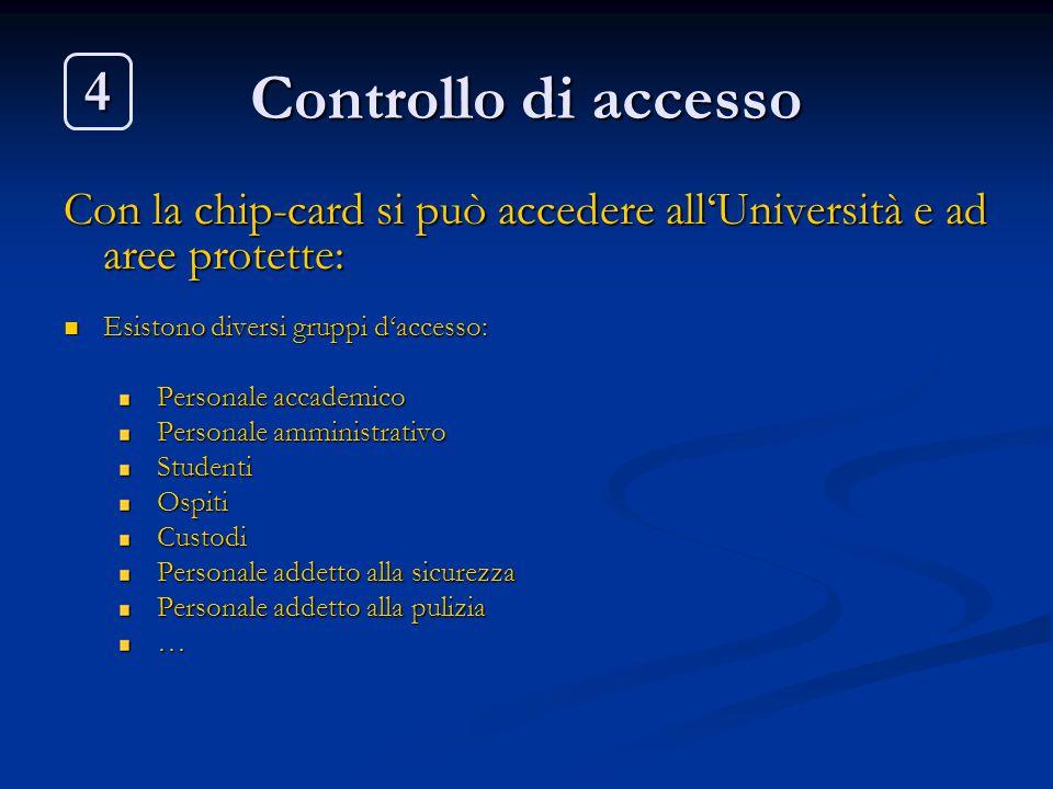 Controllo di accesso Con la chip-card si può accedere all'Università e ad aree protette: Esistono diversi gruppi d'accesso: Esistono diversi gruppi d'