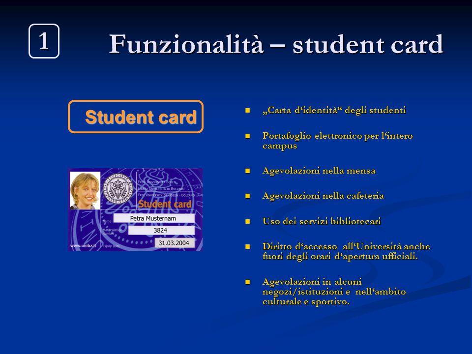 """Funzionalità – student card """"Carta d'identità"""" degli studenti Portafoglio elettronico per l'intero campus Agevolazioni nella mensa Agevolazioni nella"""