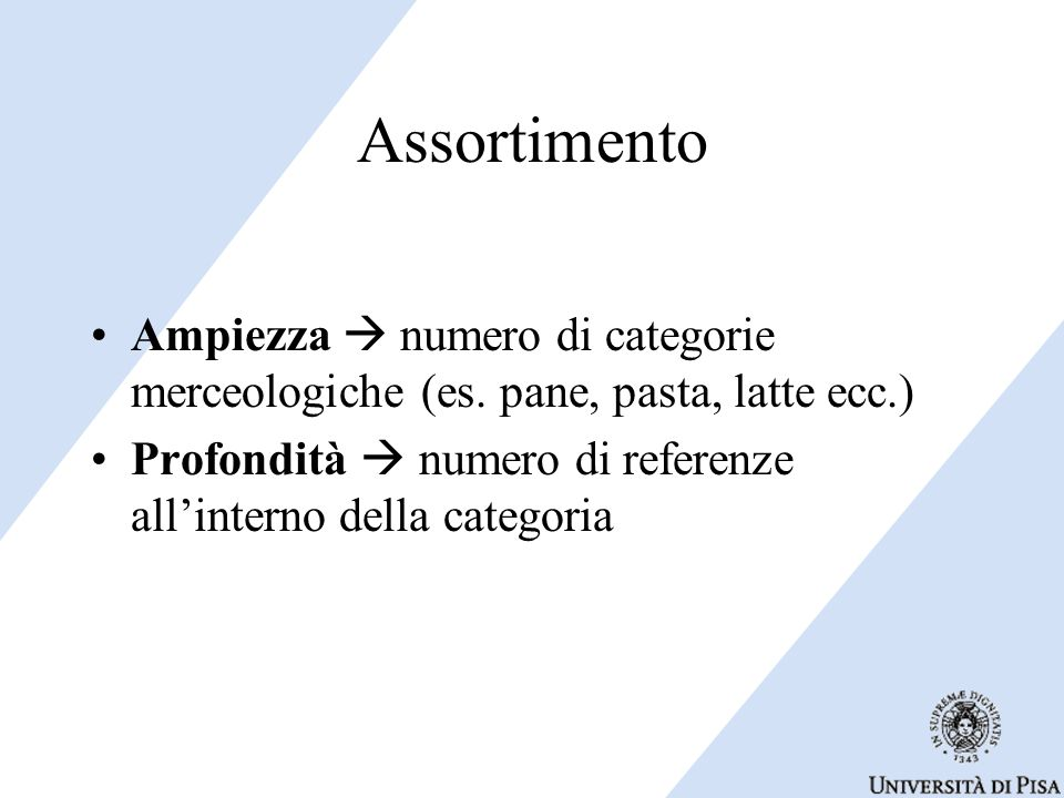 Assortimento Ampiezza  numero di categorie merceologiche (es.