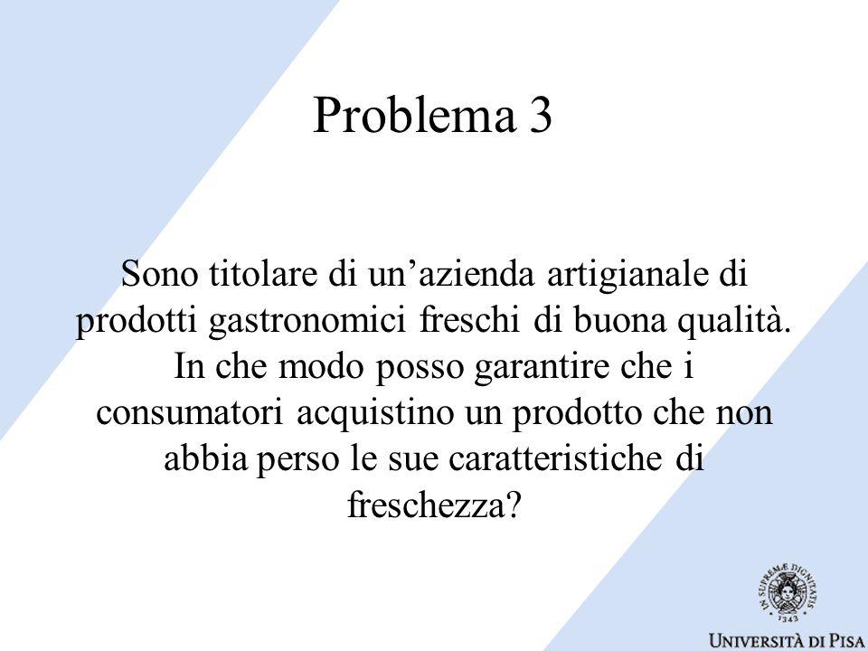 Problema 3 Sono titolare di un'azienda artigianale di prodotti gastronomici freschi di buona qualità.