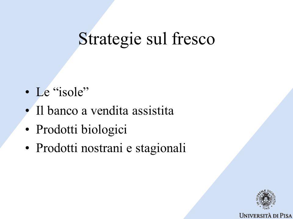 """Strategie sul fresco Le """"isole"""" Il banco a vendita assistita Prodotti biologici Prodotti nostrani e stagionali"""