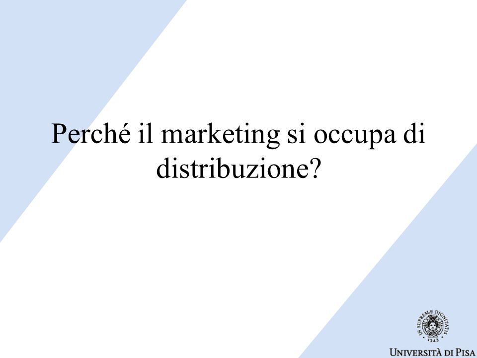 Perché il marketing si occupa di distribuzione?
