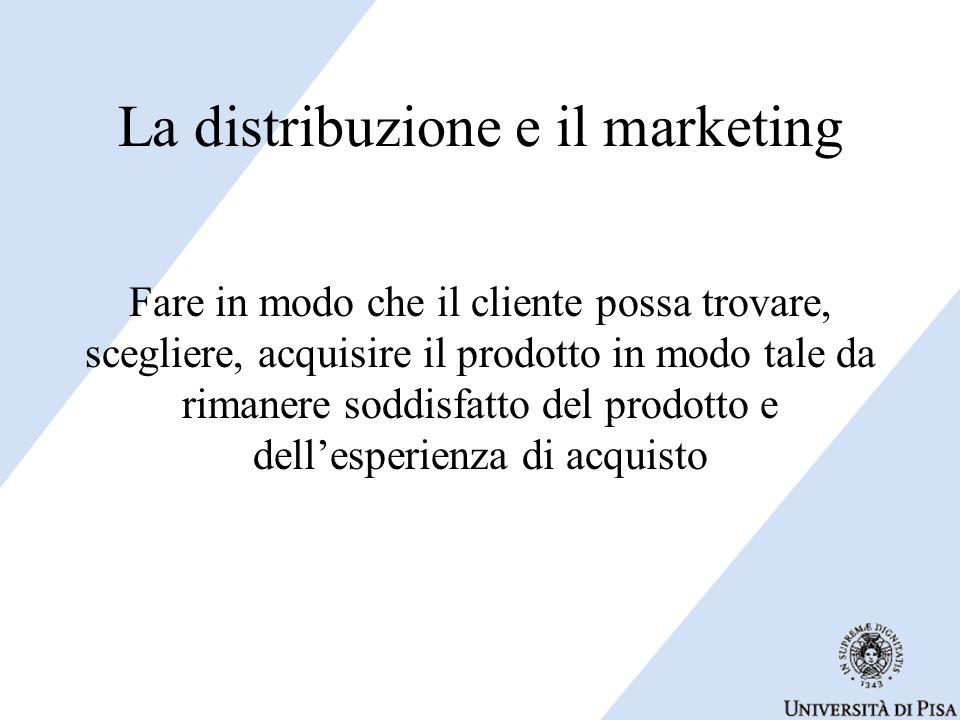 La distribuzione e il marketing Fare in modo che il cliente possa trovare, scegliere, acquisire il prodotto in modo tale da rimanere soddisfatto del p