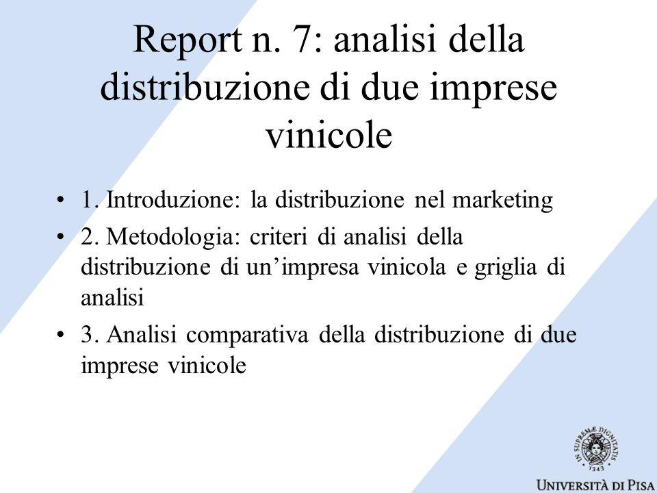 Report n. 7: analisi della distribuzione di due imprese vinicole 1. Introduzione: la distribuzione nel marketing 2. Metodologia: criteri di analisi de