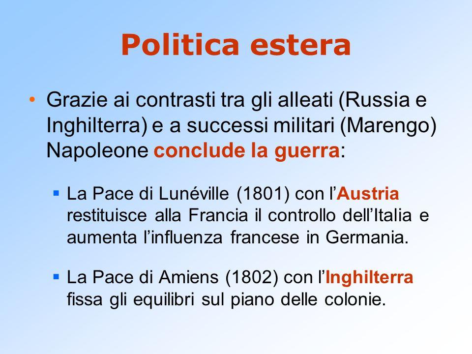 Politica estera Grazie ai contrasti tra gli alleati (Russia e Inghilterra) e a successi militari (Marengo) Napoleone conclude la guerra:  La Pace di