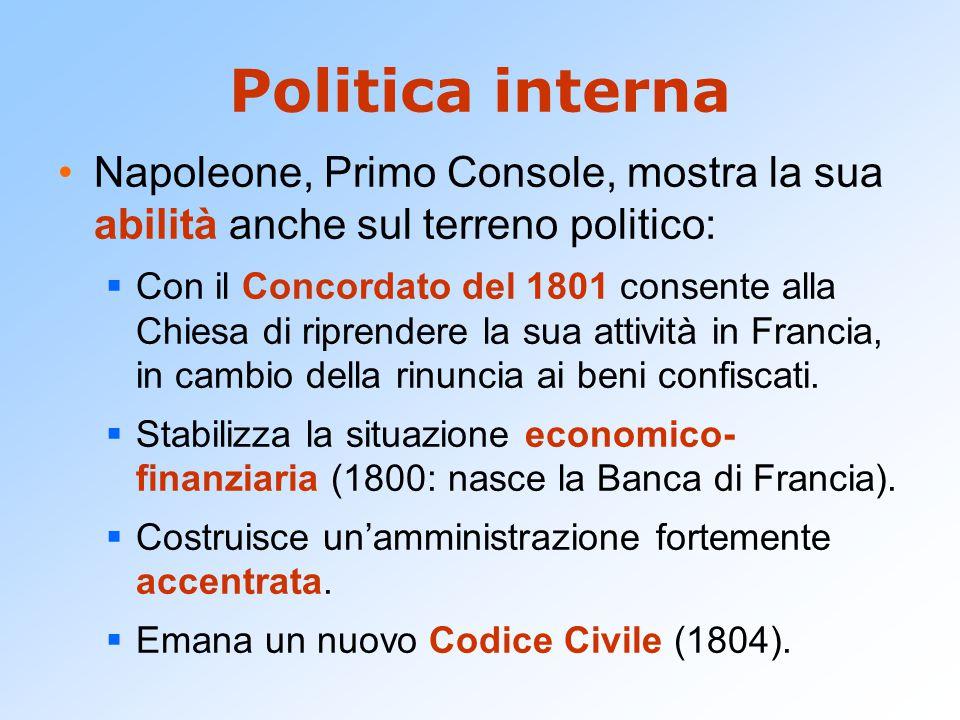 Politica interna Napoleone, Primo Console, mostra la sua abilità anche sul terreno politico:  Con il Concordato del 1801 consente alla Chiesa di ripr