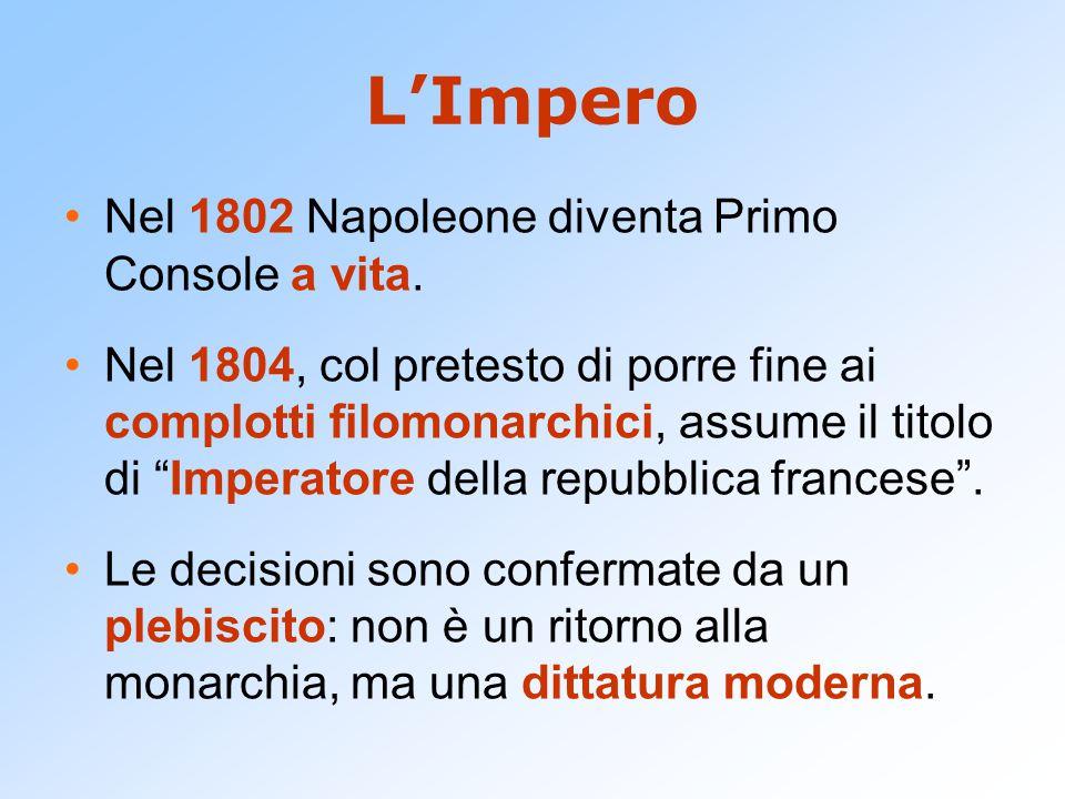 """L'Impero Nel 1802 Napoleone diventa Primo Console a vita. Nel 1804, col pretesto di porre fine ai complotti filomonarchici, assume il titolo di """"Imper"""