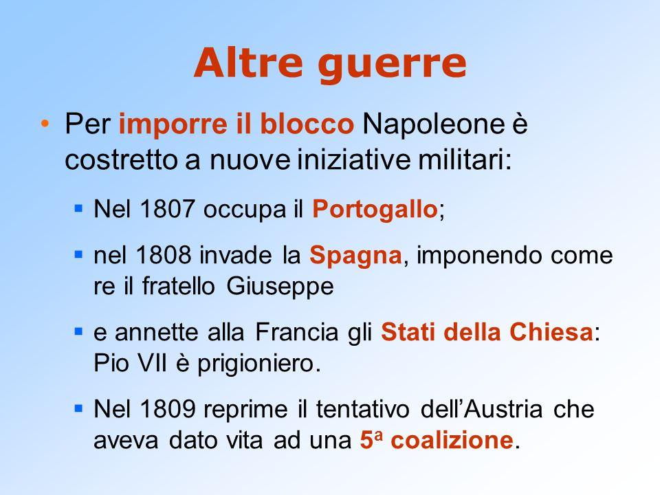 Altre guerre Per imporre il blocco Napoleone è costretto a nuove iniziative militari:  Nel 1807 occupa il Portogallo;  nel 1808 invade la Spagna, im
