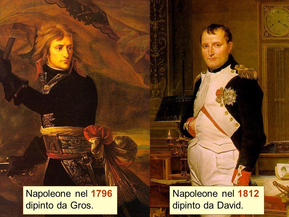 Napoleone nel 1796 dipinto da Gros. Napoleone nel 1812 dipinto da David.