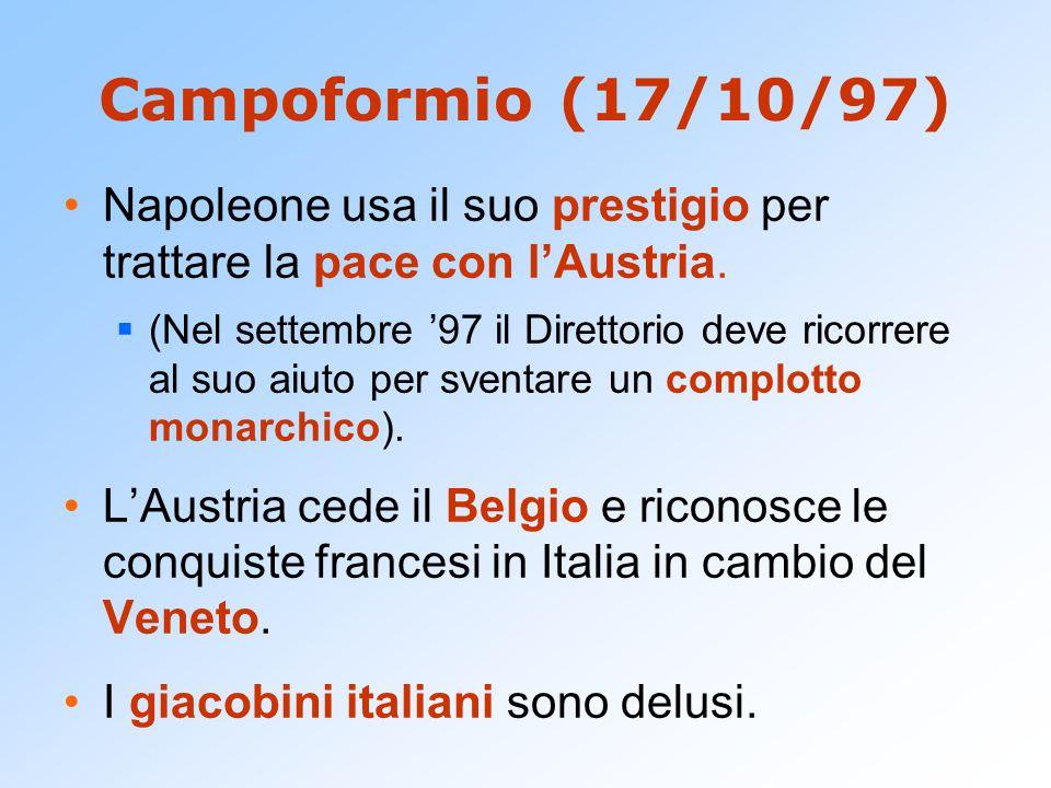 Campoformio (17/10/97) Napoleone usa il suo prestigio per trattare la pace con l'Austria.  (Nel settembre '97 il Direttorio deve ricorrere al suo aiu