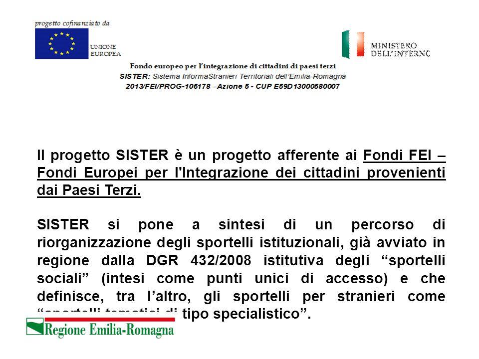 Il progetto SISTER è un progetto afferente ai Fondi FEI – Fondi Europei per l Integrazione dei cittadini provenienti dai Paesi Terzi.