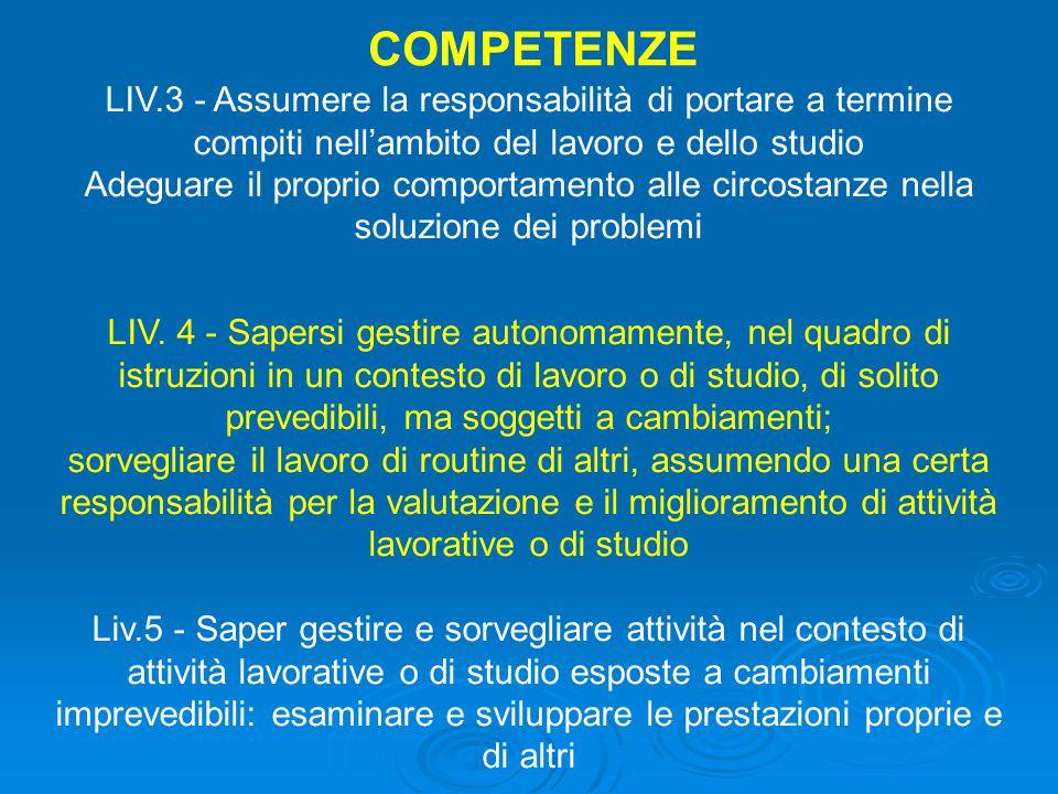 LIV.3 - Assumere la responsabilità di portare a termine compiti nell'ambito del lavoro e dello studio Adeguare il proprio comportamento alle circostanze nella soluzione dei problemi LIV.