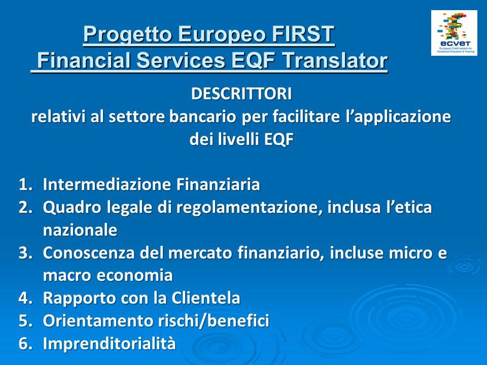 Progetto Europeo FIRST Financial Services EQF Translator Financial Services EQF Translator DESCRITTORI relativi al settore bancario per facilitare l'applicazione dei livelli EQF 1.Intermediazione Finanziaria 2.Quadro legale di regolamentazione, inclusa l'etica nazionale 3.Conoscenza del mercato finanziario, incluse micro e macro economia 4.Rapporto con la Clientela 5.Orientamento rischi/benefici 6.Imprenditorialità