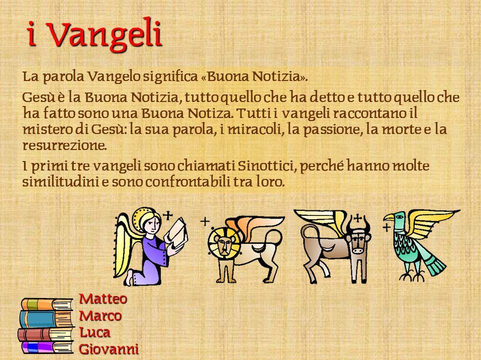 MatteoMarcoLucaGiovanni i Vangeli La parola Vangelo significa «Buona Notizia».