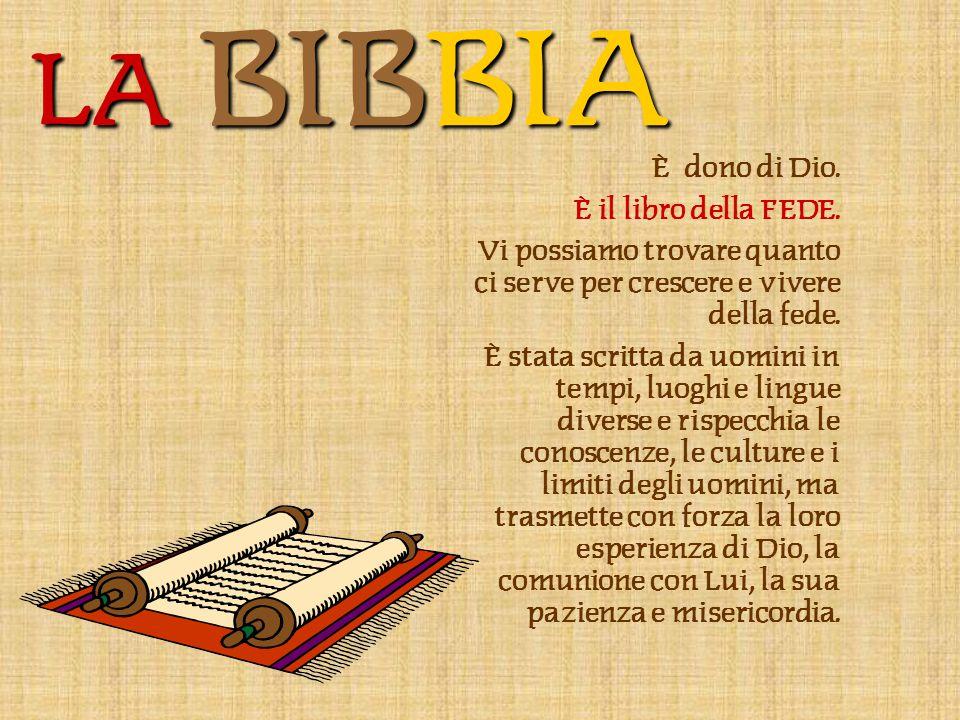 LA BIBBIA È dono di Dio.È il libro della FEDE.