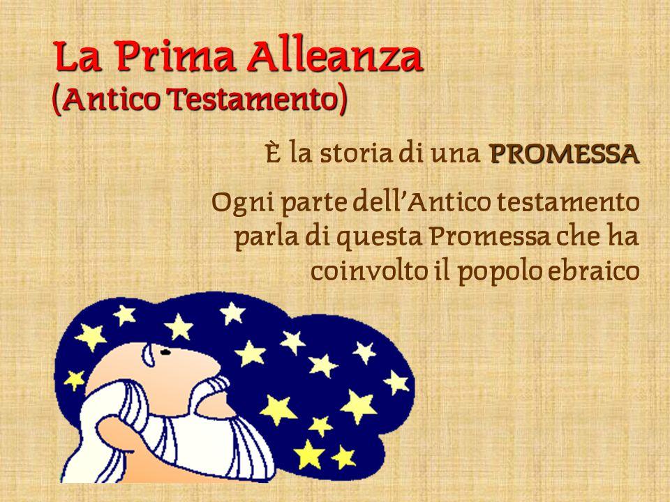 La Prima Alleanza (Antico Testamento) PROMESSA È la storia di una PROMESSA Ogni parte dell'Antico testamento parla di questa Promessa che ha coinvolto il popolo ebraico