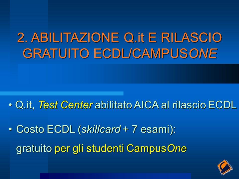 Q.it, Test Center abilitato AICA al rilascio ECDL Q.it, Test Center abilitato AICA al rilascio ECDL Costo ECDL (skillcard + 7 esami):Costo ECDL (skill