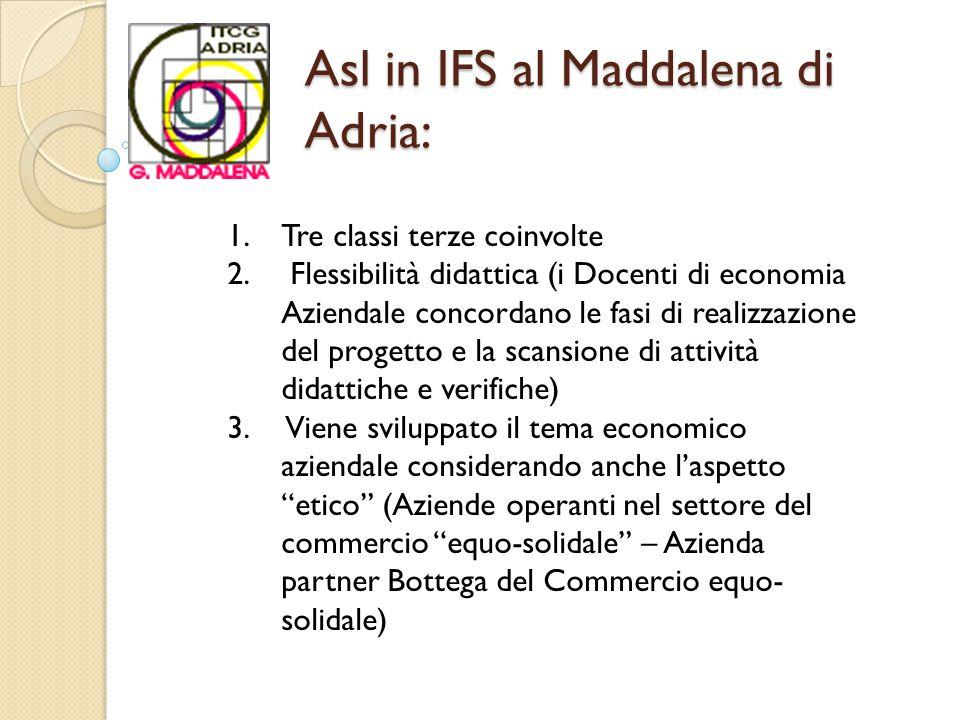 Asl in IFS al Maddalena di Adria: 1.Tre classi terze coinvolte 2.