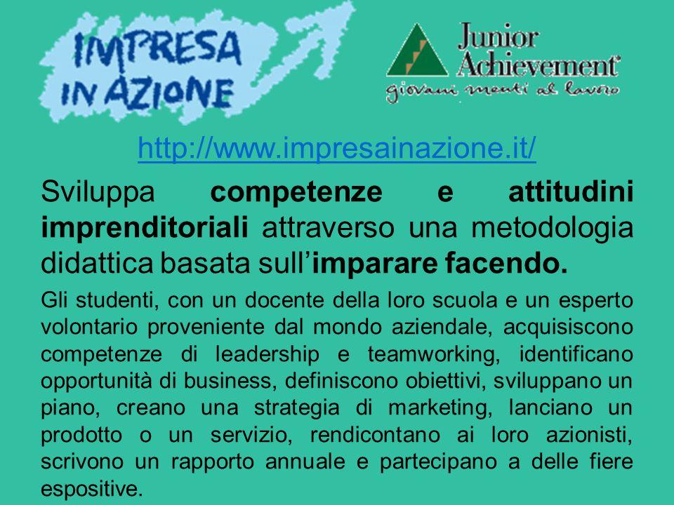 http://www.impresainazione.it/ Sviluppa competenze e attitudini imprenditoriali attraverso una metodologia didattica basata sull'imparare facendo.