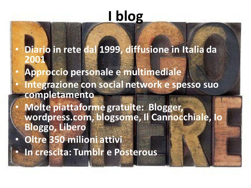 I blog Diario in rete dal 1999, diffusione in Italia da 2001 Approccio personale e multimediale Integrazione con social network e spesso suo completamento Molte piattaforme gratuite: Blogger, wordpress.com, blogsome, Il Cannocchiale, Io Bloggo, Libero Oltre 350 milioni attivi In crescita: Tumblr e Posterous