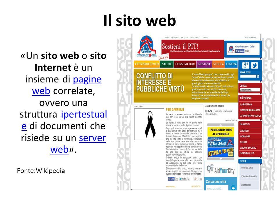 Il sito web «Un sito web o sito Internet è un insieme di pagine web correlate, ovvero una struttura ipertestual e di documenti che risiede su un server web».pagine webipertestual eserver web Fonte:Wikipedia