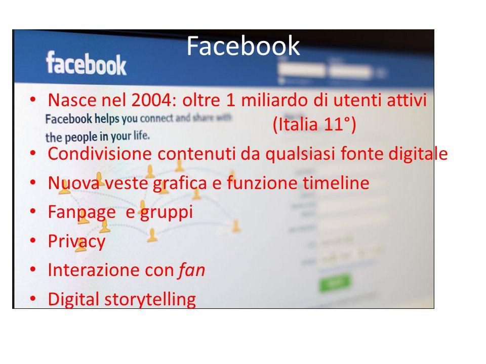 Facebook Nasce nel 2004: oltre 1 miliardo di utenti attivi (Italia 11°) Condivisione contenuti da qualsiasi fonte digitale Nuova veste grafica e funzione timeline Fanpage e gruppi Privacy Interazione con fan Digital storytelling