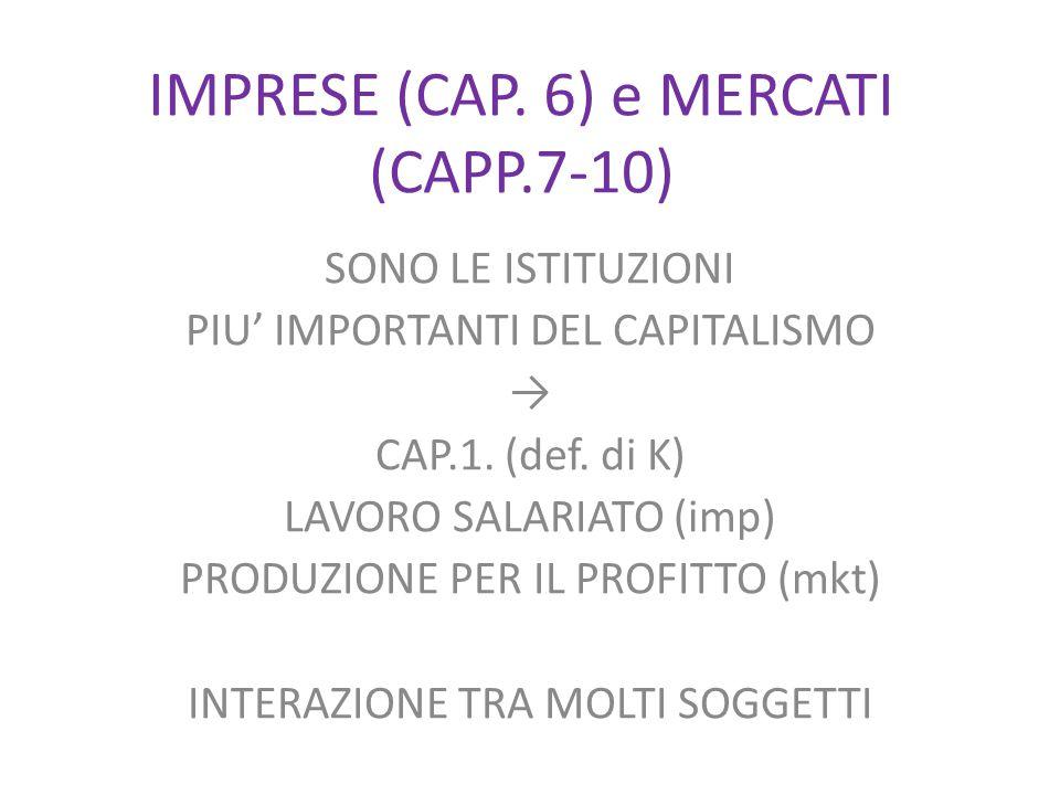 IMPRESE (CAP. 6) e MERCATI (CAPP.7-10) SONO LE ISTITUZIONI PIU' IMPORTANTI DEL CAPITALISMO → CAP.1.