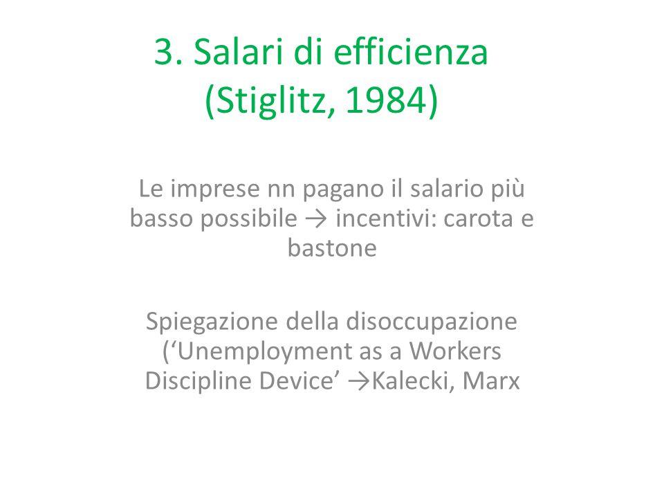 3. Salari di efficienza (Stiglitz, 1984) Le imprese nn pagano il salario più basso possibile → incentivi: carota e bastone Spiegazione della disoccupa