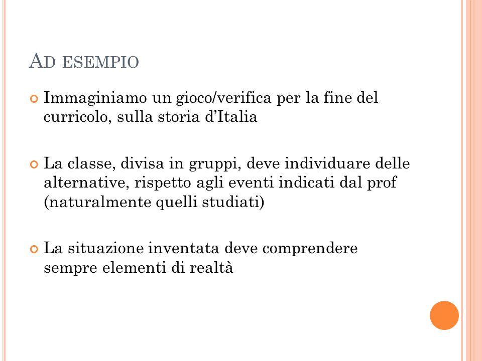 A D ESEMPIO Immaginiamo un gioco/verifica per la fine del curricolo, sulla storia d'Italia La classe, divisa in gruppi, deve individuare delle alterna