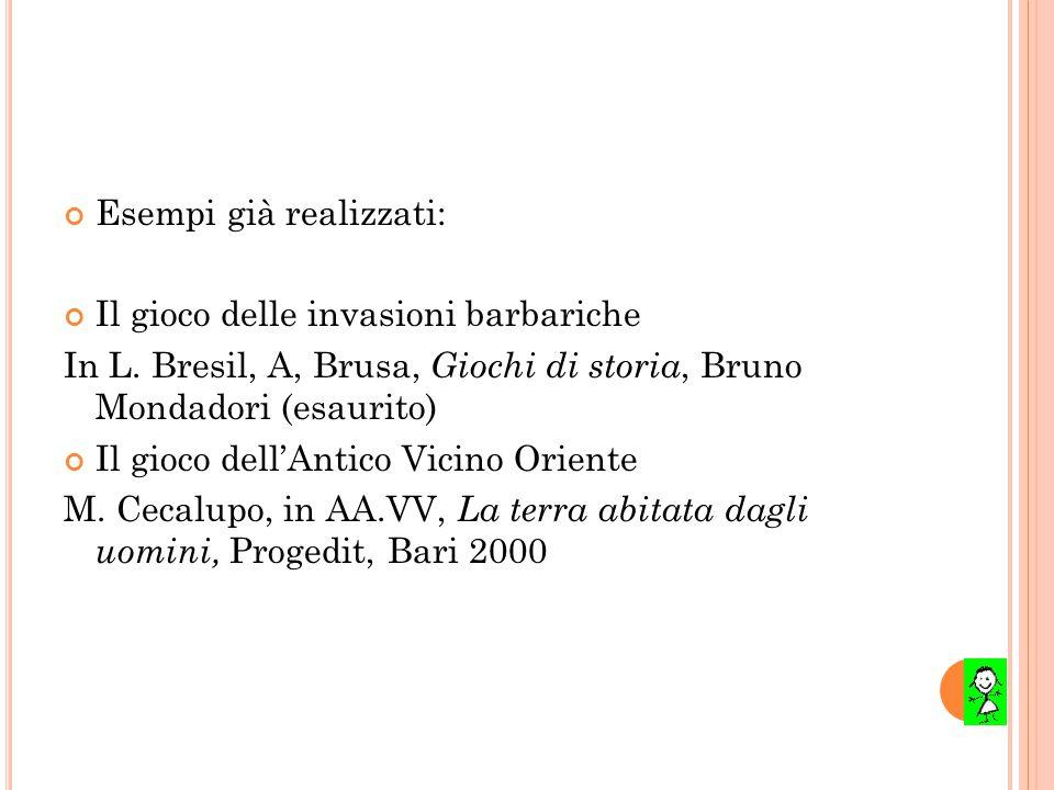 Esempi già realizzati: Il gioco delle invasioni barbariche In L. Bresil, A, Brusa, Giochi di storia, Bruno Mondadori (esaurito) Il gioco dell'Antico V