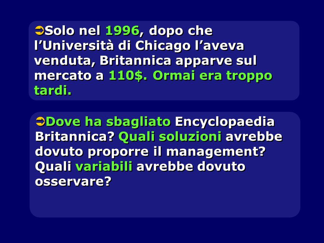  Solo nel 1996, dopo che l'Università di Chicago l'aveva venduta, Britannica apparve sul mercato a 110$. Ormai era troppo tardi.  Dove ha sbagliato