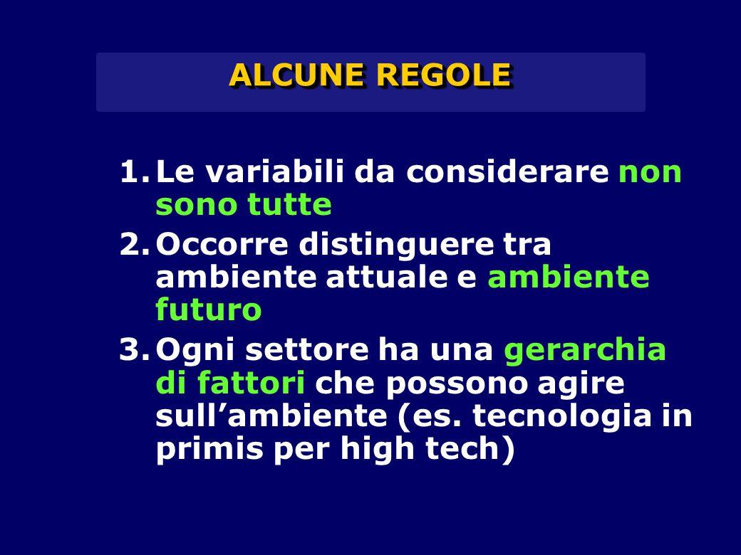 ALCUNE REGOLE 1.Le variabili da considerare non sono tutte 2.Occorre distinguere tra ambiente attuale e ambiente futuro 3.Ogni settore ha una gerarchi
