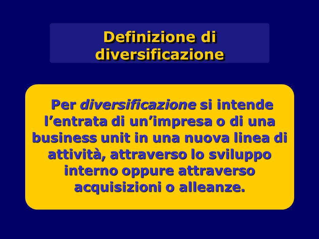 Per diversificazione si intende l'entrata di un'impresa o di una business unit in una nuova linea di attività, attraverso lo sviluppo interno oppure a