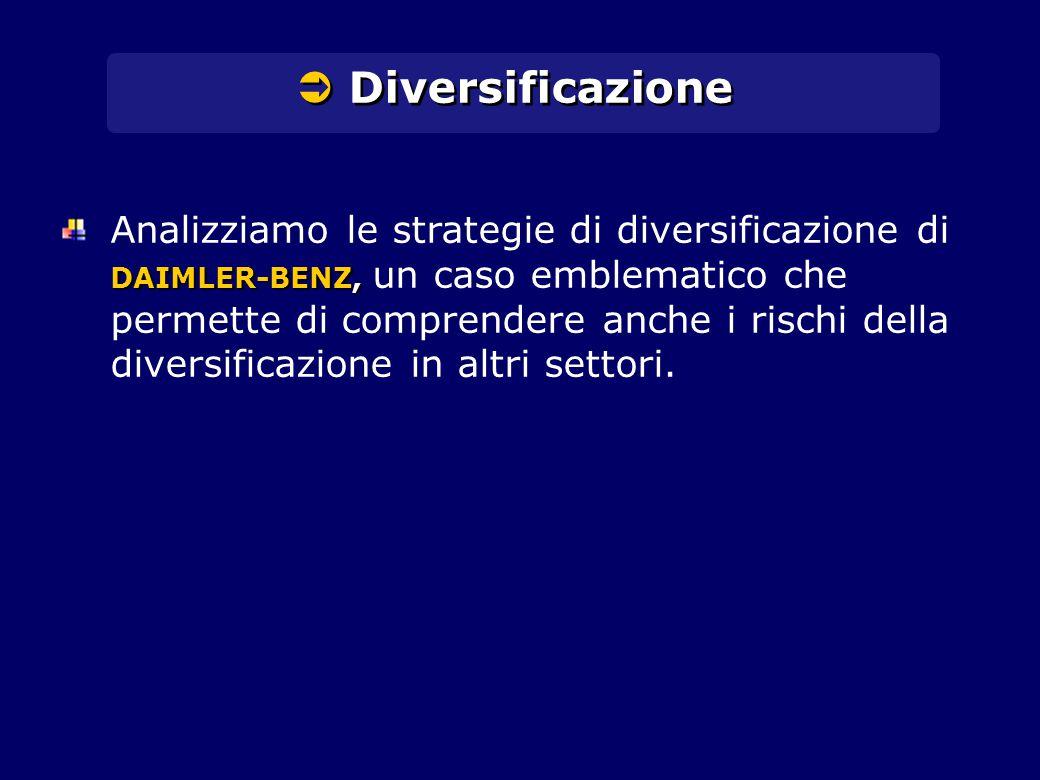  Diversificazione DAIMLER-BENZ, Analizziamo le strategie di diversificazione di DAIMLER-BENZ, un caso emblematico che permette di comprendere anche i