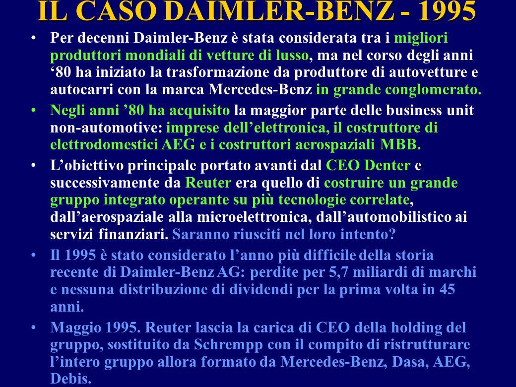 IL CASO DAIMLER-BENZ - 1995 Per decenni Daimler-Benz è stata considerata tra i migliori produttori mondiali di vetture di lusso, ma nel corso degli an