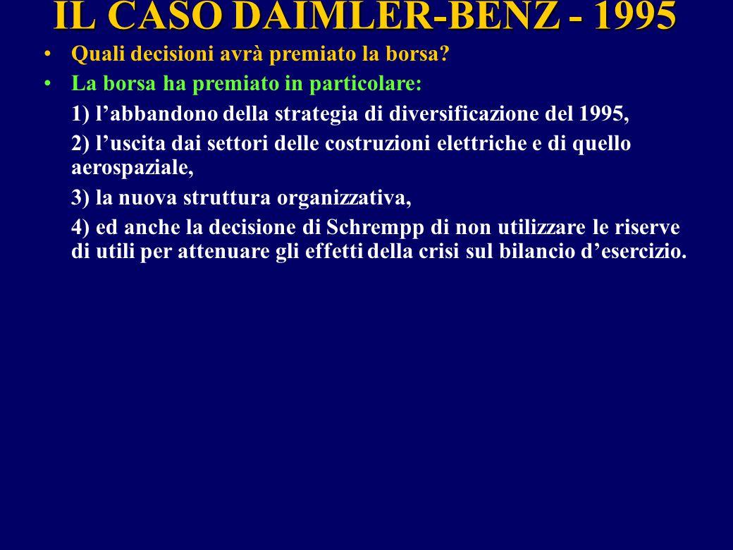 IL CASO DAIMLER-BENZ - 1995 Quali decisioni avrà premiato la borsa? La borsa ha premiato in particolare: 1) l'abbandono della strategia di diversifica