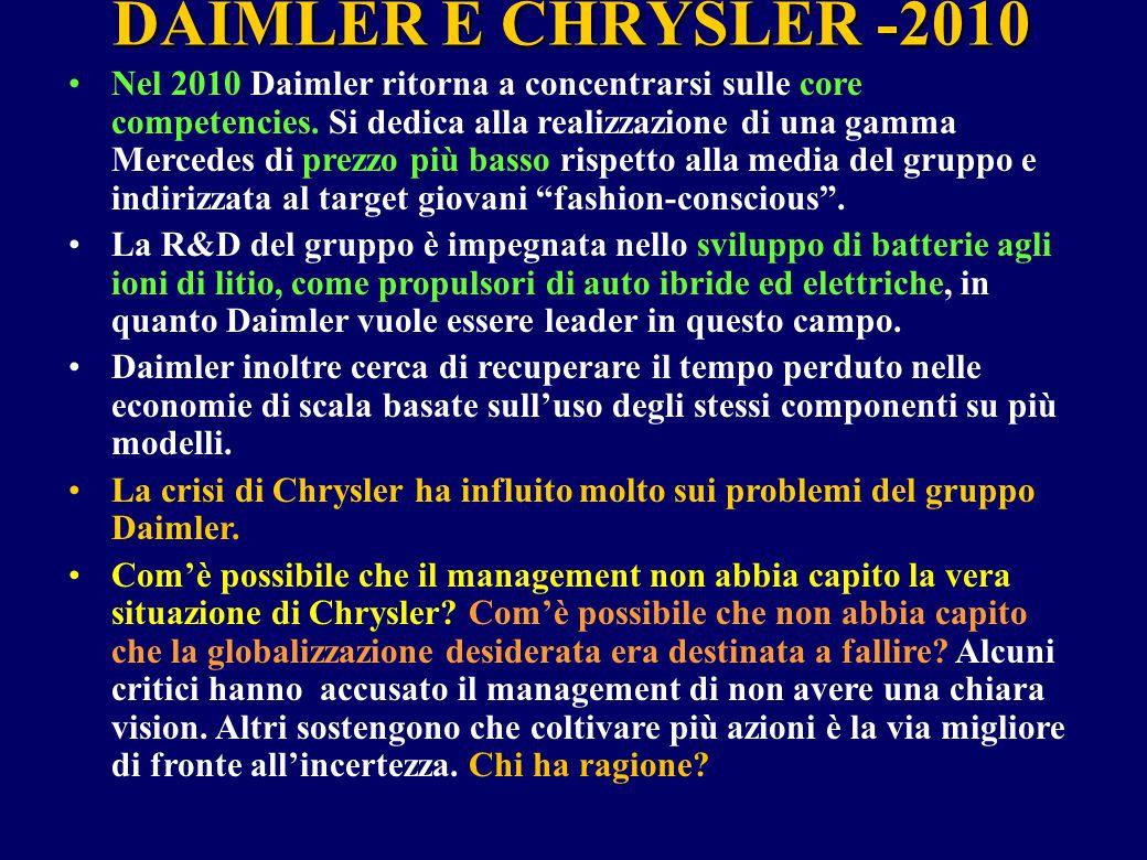 DAIMLER E CHRYSLER -2010 Nel 2010 Daimler ritorna a concentrarsi sulle core competencies. Si dedica alla realizzazione di una gamma Mercedes di prezzo