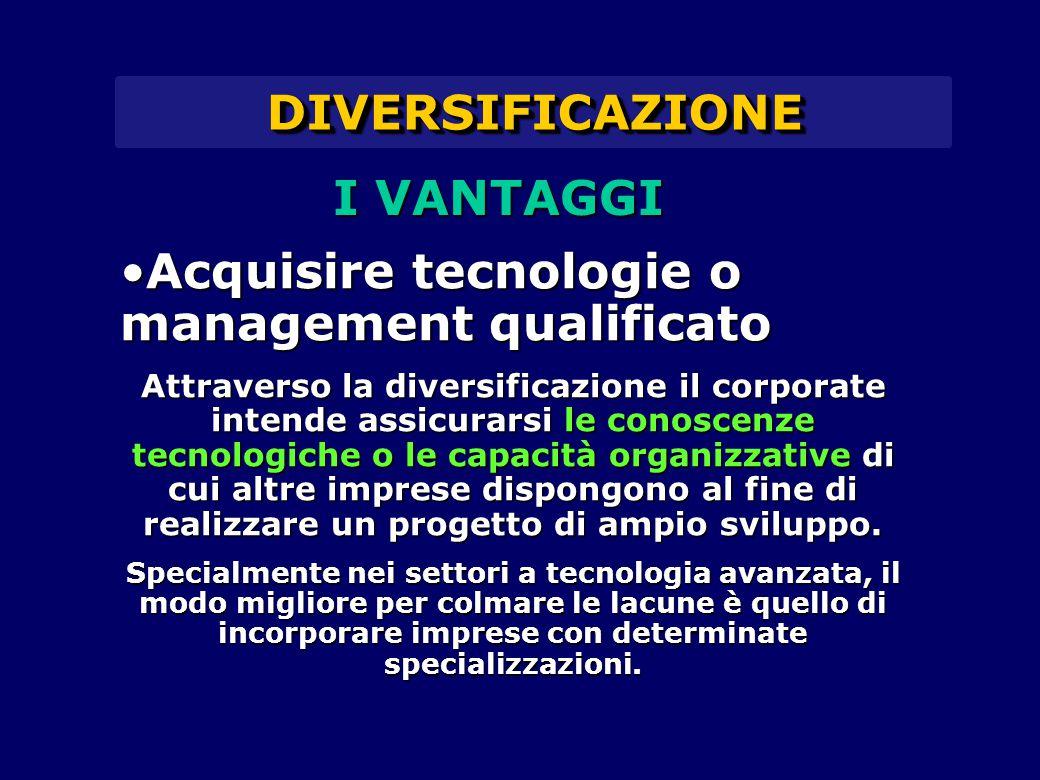 DIVERSIFICAZIONEDIVERSIFICAZIONE Acquisire tecnologie o management qualificatoAcquisire tecnologie o management qualificato Attraverso la diversificaz