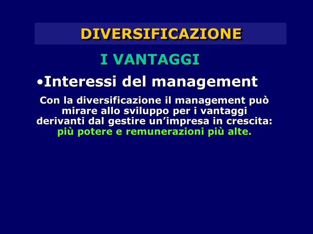 DIVERSIFICAZIONEDIVERSIFICAZIONE Interessi del managementInteressi del management Con la diversificazione il management può mirare allo sviluppo per i