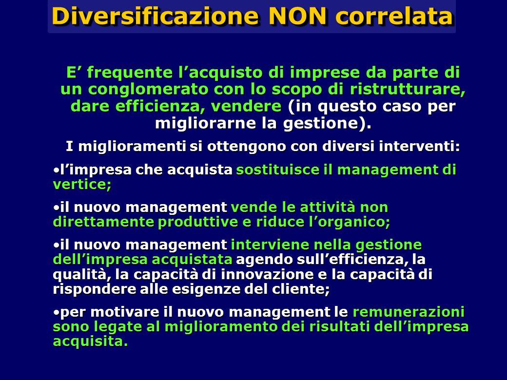 Diversificazione NON correlata E' frequente l'acquisto di imprese da parte di un conglomerato con lo scopo di ristrutturare, dare efficienza, vendere
