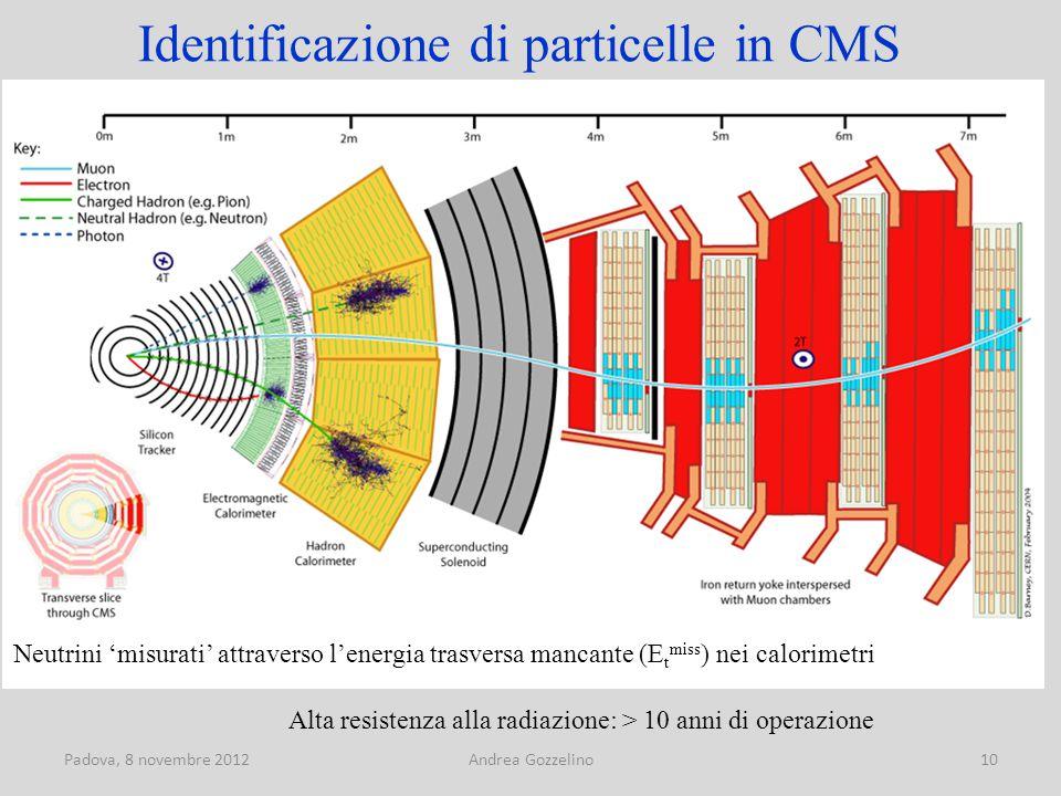 Padova, 8 novembre 2012Andrea Gozzelino10 Identificazione di particelle in CMS Neutrini 'misurati' attraverso l'energia trasversa mancante (E t miss ) nei calorimetri Alta resistenza alla radiazione: > 10 anni di operazione