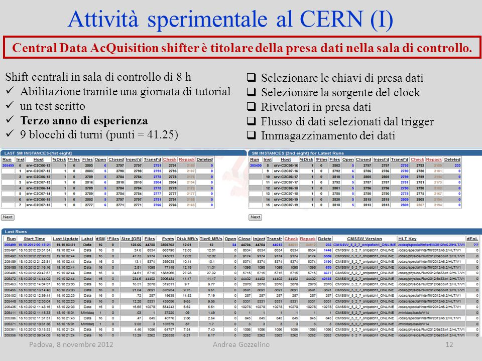 Padova, 8 novembre 2012Andrea Gozzelino12 Central Data AcQuisition shifter è titolare della presa dati nella sala di controllo.
