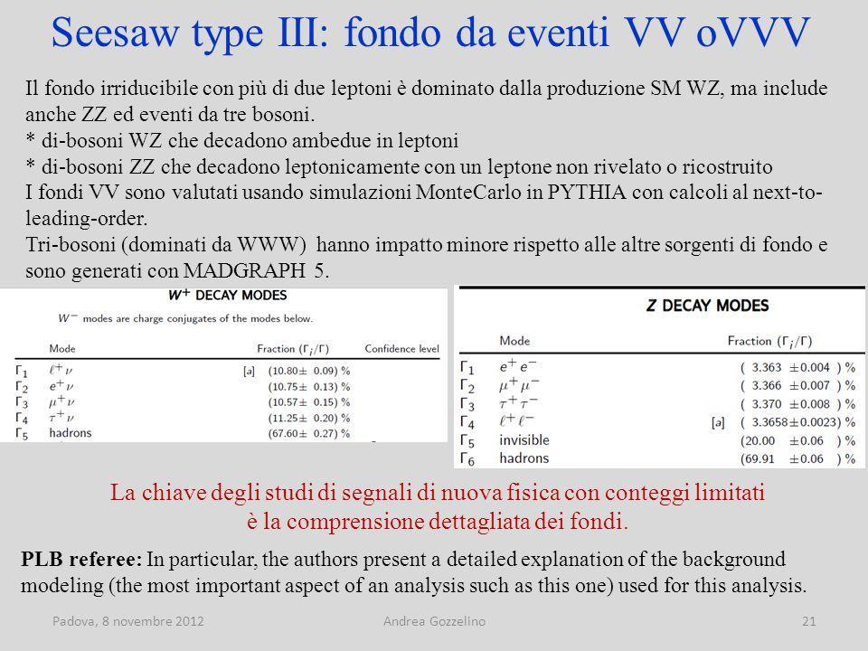 Padova, 8 novembre 2012Andrea Gozzelino21 Seesaw type III: fondo da eventi VV oVVV Il fondo irriducibile con più di due leptoni è dominato dalla produzione SM WZ, ma include anche ZZ ed eventi da tre bosoni.