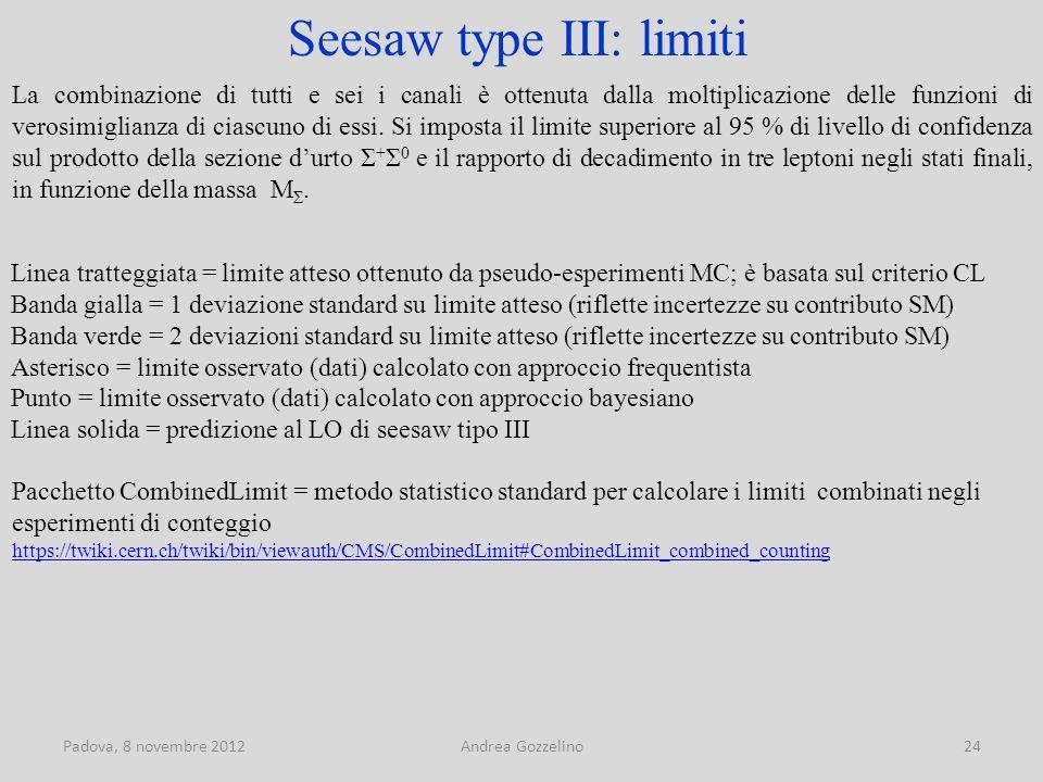 Padova, 8 novembre 2012Andrea Gozzelino24 Seesaw type III: limiti La combinazione di tutti e sei i canali è ottenuta dalla moltiplicazione delle funzioni di verosimiglianza di ciascuno di essi.
