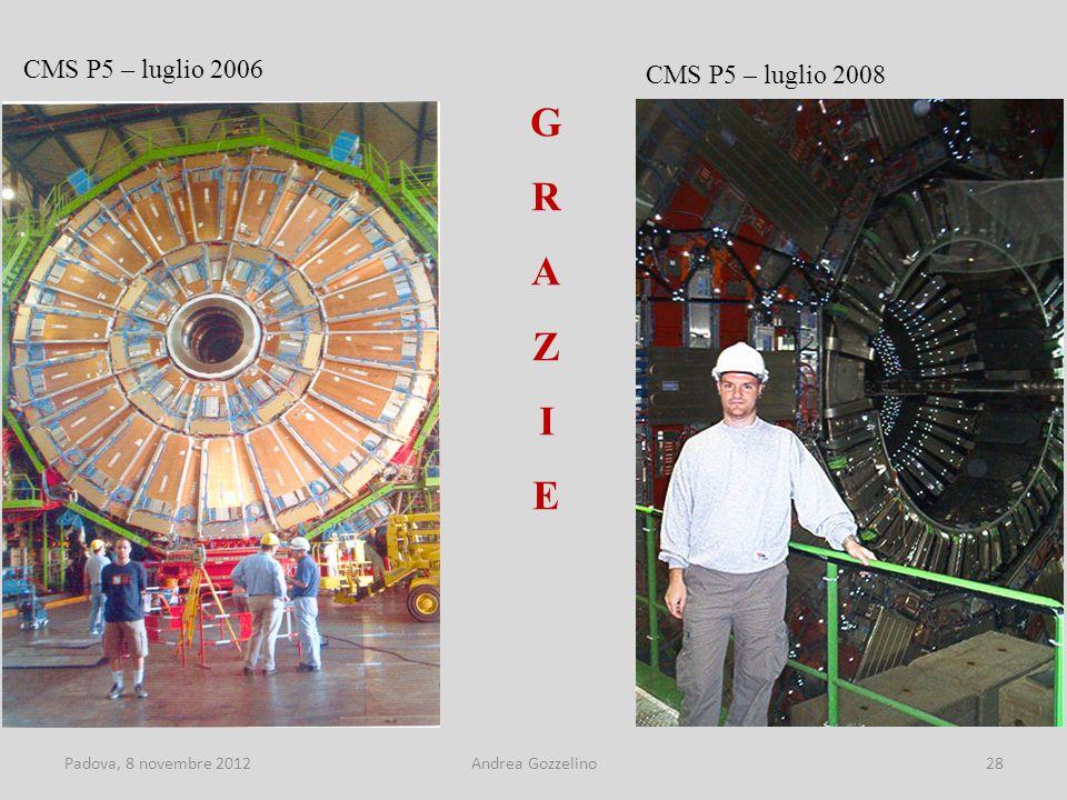 Padova, 8 novembre 2012Andrea Gozzelino28 CMS P5 – luglio 2006 CMS P5 – luglio 2008 GRAZIEGRAZIE