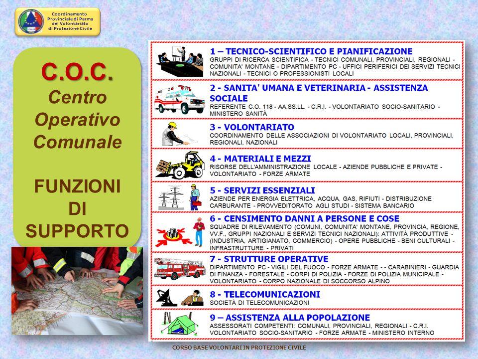 Coordinamento Provinciale di Parma del Volontariato di Protezione Civile CORSO BASE VOLONTARI IN PROTEZIONE CIVILE Direzione Comando e Controllo