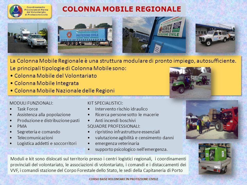 Coordinamento Provinciale di Parma del Volontariato di Protezione Civile CORSO BASE VOLONTARI IN PROTEZIONE CIVILE STRUTTURA REGIONALE DEL VOLONTARIAT